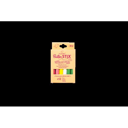 12 craies colorées pour ardoise Jaq Jaq Bird
